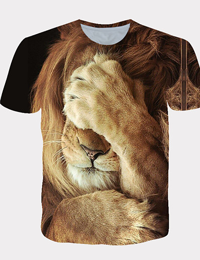 cheap Men-Men's T shirt Shirt 3D Print Graphic Lion Animal Pattern Fashion Short Sleeve Daily Tops Streetwear Exaggerated Cool White Yellow Orange