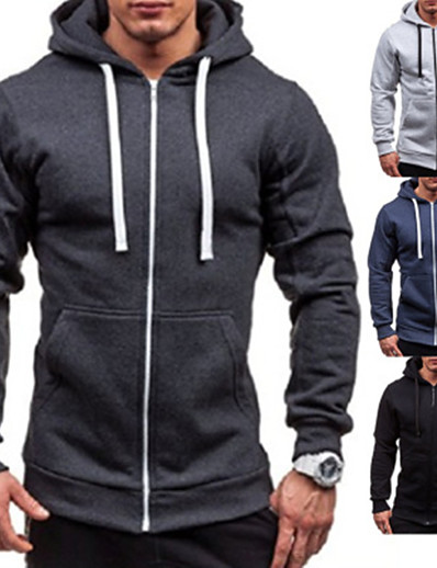 cheap Running, Jogging & Walking-Men's Long Sleeve Running Track Jacket Hoodie Jacket Full Zip Outerwear Coat Top Casual Athleisure Winter Cotton Breathable Soft Fitness Gym Workout Running Jogging Sportswear Solid Colored Normal