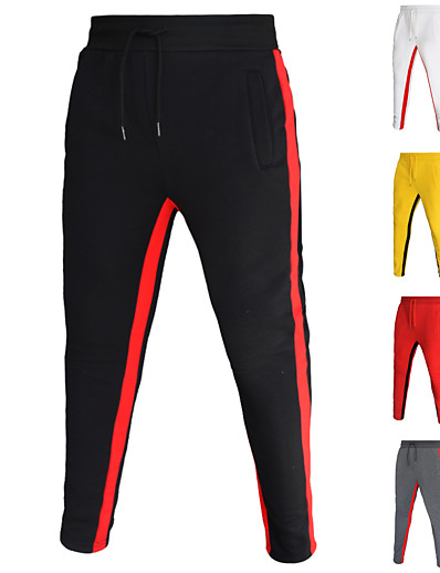 cheap Running, Jogging & Walking-Men's Sweatpants Track Pants Casual Bottoms Drawstring Pocket Cotton Fitness Gym Workout Performance Running Training Breathable Soft Sweat wicking Normal Sport Stripes White Black Red Yellow Gray
