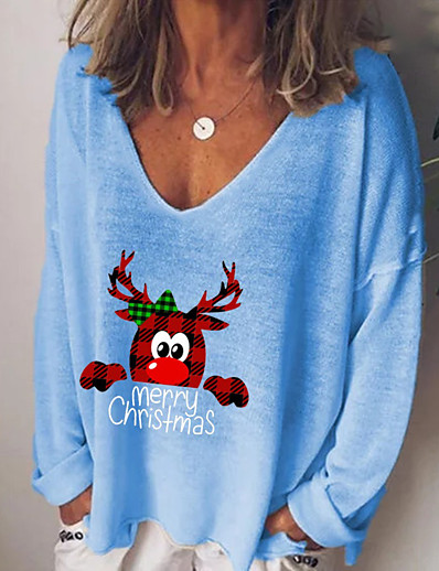 cheap Christmas Tops-Women's Christmas T-shirt Animal Cartoon Letter Long Sleeve Print V Neck Tops Basic Basic Top White Black Blue