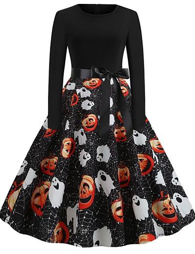 cheap HALLOWEEN 2020-Halloween Women's A-Line Dress Knee Length Dress - Long Sleeve Pumpkin Print Bow Print Fall Vintage Slim 2020 White Black Yellow Orange S M L XL XXL