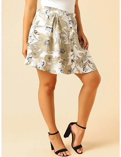 cheap NEW IN-Women's Casual / Daily Basic Plus Size Skirts Floral Patchwork White / Slim