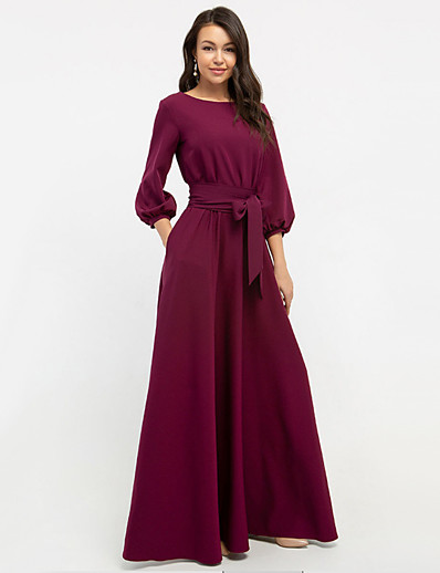 cheap Maxi Dresses-Women's Sheath Dress Maxi long Dress - Long Sleeve Solid Color Patchwork Winter Formal Elegant Hot Party Lantern Sleeve Slim 2020 White Blue Red Blushing Pink Green Brown S M L XL XXL