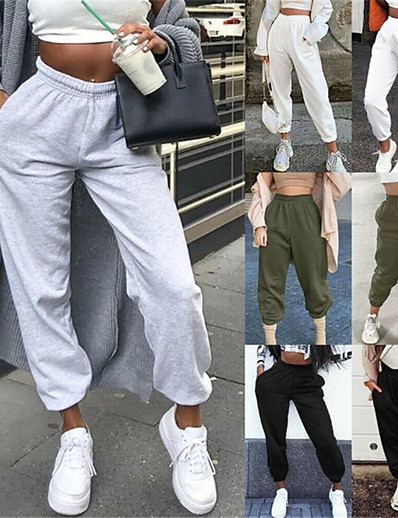 cheap Running, Jogging & Walking-Women's Sweatpants Joggers Athleisure Bottoms Elastic Waistband Pocket Cotton Winter Fitness Gym Workout Performance Running Training Breathable Soft Sweat wicking Normal Sport Solid Colored Blushing