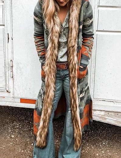 cheap Outerwear-Women's Coat Geometric Fur Trim Basic Fall & Winter Long Daily Long Sleeve Faux Leather Coat Tops Blue