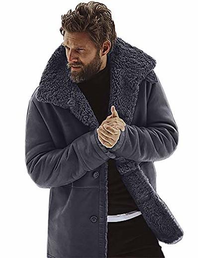 cheap Men's Outerwear-Men's Peaked Lapel Coat Regular N / A Causal Black Brown Army Green Gray M L XL XXL