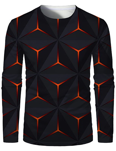 cheap Men's 3D-Men's T shirt 3D Print Graphic Optical Illusion Plus Size Print Long Sleeve Daily Tops Elegant Exaggerated Round Neck Red