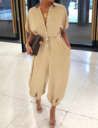 cheap JUMPSUITS & ROMPERS-Women's Ordinary Black Khaki Jumpsuit Solid Colored Lace up