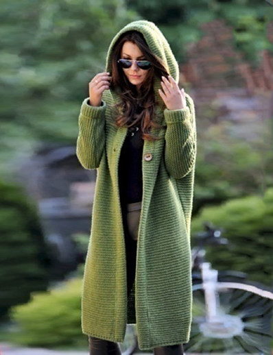 cheap Cardigans-Women's Basic Knitted Solid Color Plain Cardigan Acrylic Fibers Long Sleeve Loose Sweater Cardigans Hooded Fall Winter Blue Yellow Green