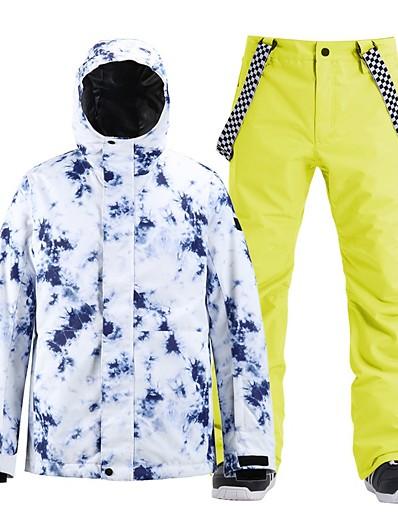cheap Ski & Snowboard-Men's Ski Jacket with Pants Skiing Snowboarding Winter Sports Waterproof Windproof Warm 100% Polyester Clothing Suit Ski Wear