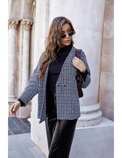 cheap OUTERWEAR-Women's Fall Coat Regular Plaid Daily Gray S M L XL