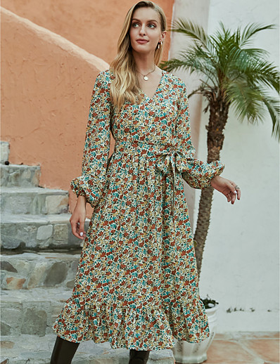 cheap 2020 F/W-Women's A-Line Dress Midi Dress - Long Sleeve Floral Ruffle Print Fall Winter V Neck Casual Daily Going out Lantern Sleeve 2020 Green S M L XL
