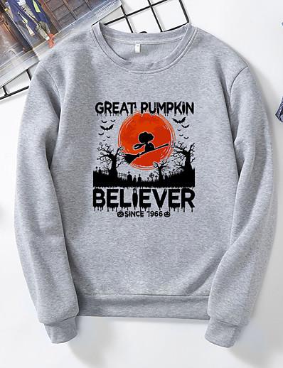 abordables NOUVELLE DANS-Femme Halloween Sweat à capuche Graphique Lettre Simple basique Halloween Pulls Capuche Pulls molletonnés Noir Jaune Gris