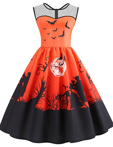 cheap NEW IN-Halloween Women's A-Line Dress Knee Length Dress - Sleeveless Print Mesh Pocket Patchwork Summer Casual Vintage Party 2020 Purple Orange S M L XL XXL 3XL