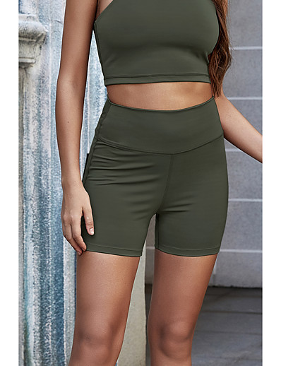 cheap Bottoms-Women's Sports Skinny Sweatpants Shorts Pants Solid Colored Short High Waist Black Purple Army Green