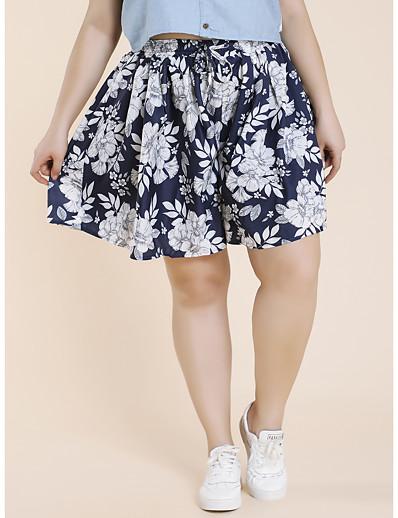 abordables Bas-Femme basique Respirable Grandes Tailles Quotidien Short Pantalon Fleurie Court Maille Taille haute Bleu