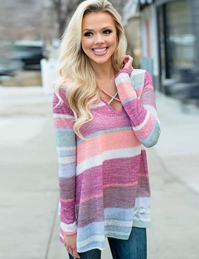 cheap 11/20/2020-Women's T-shirt Color Block Long Sleeve V Neck Tops Basic Basic Top Rainbow