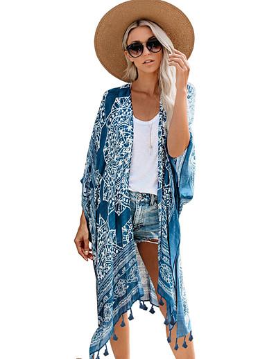 cheap Cover Ups-Women's Irregular Style Cover-Up Swimsuit Tassel Fringe Print Geometric Swimwear Bathing Suits Blue Brown / Padless