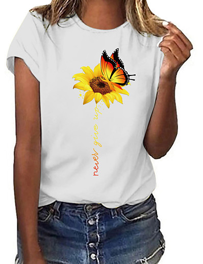 cheap TOPS-Women's T-shirt Floral Butterfly Flower Print Round Neck Tops 100% Cotton Basic Basic Top White / Sunflower