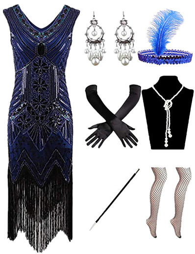 cheap Historical & Vintage Costumes-Charleston Roaring 20s 1920s Vintage The Great Gatsby Vacation Dress Flapper Dress Costume Accessory Sets Prom Dress Halloween Costumes Women's Feather Costume Red / black / Golden / Golden+Black