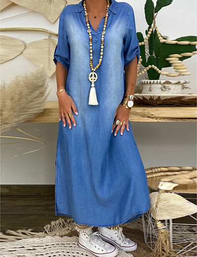 cheap PLUS SIZE-Women's Denim Dress Maxi long Dress - Half Sleeve Summer V Neck Plus Size Casual 100% Cotton Loose 2020 Blue M L XL XXL XXXL