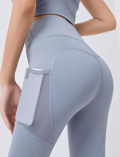 abordables Pantalons et Jupes Femme-Femme Sportif Yoga Respirable Mince Quotidien Joggings Pantalon Couleur Pleine Cheville Taille haute Noir Bleu Violet