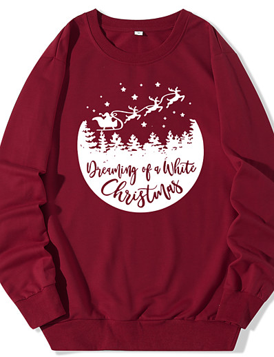 cheap Christmas Sweater-Women's Pullover Sweatshirt Graphic Monograms Daily Christmas Hoodies Sweatshirts  White Black Blue