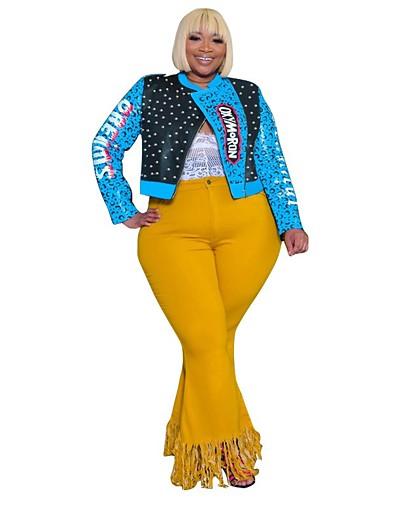 cheap Plus Size Outerwear-Women's Polka Dot Basic Fall & Winter Faux Leather Jacket Regular Daily Long Sleeve PU Coat Tops Black