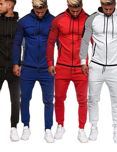 cheap Running, Jogging & Walking-Men's 2 Piece Full Zip Tracksuit Sweatsuit Street Athleisure Winter Long Sleeve Cotton Thermal Warm Breathable Soft Fitness Gym Workout Running Active Training Jogging Sportswear Skinny Stripes Plus