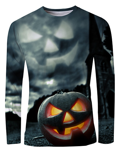 cheap NEW IN-Men's Graphic T-shirt Long Sleeve Halloween Tops Basic Round Neck Black