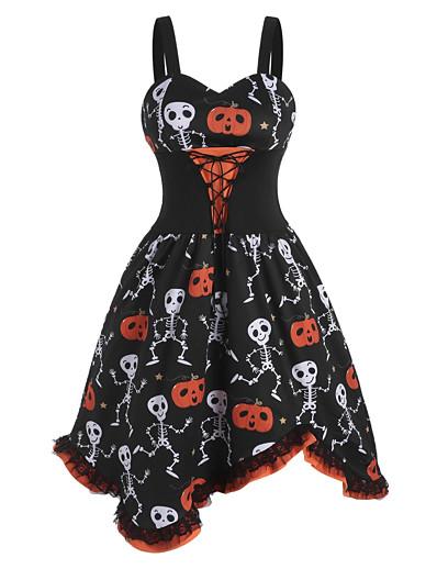cheap HALLOWEEN 2020-Halloween Women's A-Line Dress Knee Length Dress - Sleeveless Pumpkin Skulls Skeleton Print Lace Bow Patchwork Summer V Neck Vintage Slim 2020 Black S M L XL XXL XXXL