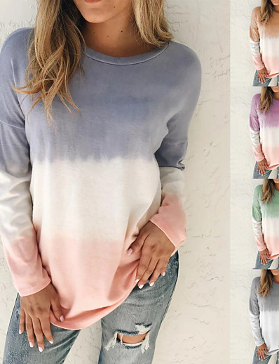 cheap Sweaters & Cardigans-Women's Sweatshirt Pullover Tie Dye Crew Neck Color Block Sport Athleisure Sweatshirt Top Long Sleeve Warm Soft Comfortable Everyday Use Daily Exercising / Winter