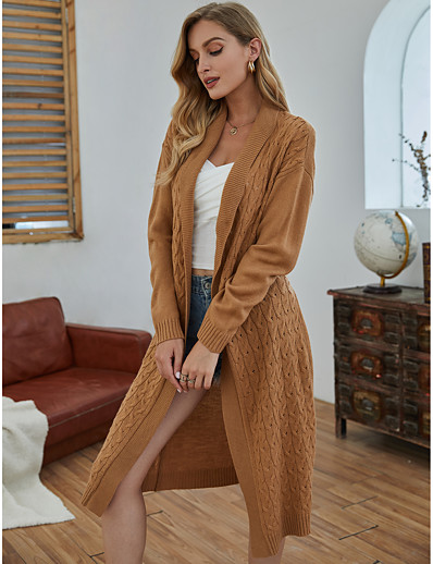 cheap 09/14/2020-Women's Basic Embroidery Knitted Solid Color Cardigan Long Sleeve Sweater Cardigans Open Front Fall Winter Camel