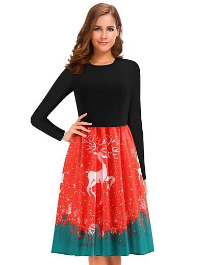 cheap Plus Size Dresses-Women's Sheath Dress Knee Length Dress - Long Sleeve Print Patchwork Print Spring Fall Plus Size Casual 2020 Red L XL XXL 3XL 4XL 5XL