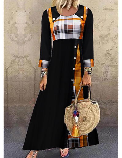 cheap 10/12/2020-Women's Shift Dress Maxi long Dress - 3/4 Length Sleeve Plaid Button Spring Fall Casual Loose 2020 Black M L XL XXL 3XL