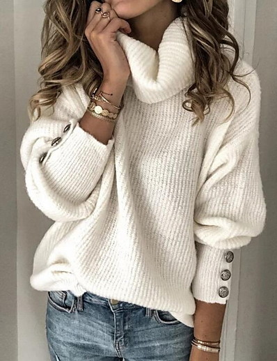 cheap Sweaters & Cardigans-Women's Solid Color Plain Pullover Long Sleeve Sweater Cardigans Turtleneck Fall Winter White Black Blue