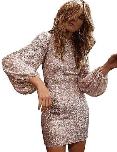 cheap Party Dresses-Women's A-Line Dress Short Mini Dress - Long Sleeve Solid Color Sequins Spring Summer Casual Hot Party Going out Lantern Sleeve Slim 2020 White Black S M L XL