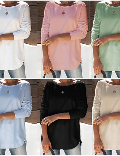cheap Hoodies & Sweatshirts-Women's Sweatshirt Pullover Pure Color Crew Neck Solid Color Sport Athleisure Sweatshirt Top Long Sleeve Warm Soft Comfortable Everyday Use Daily Exercising / Winter