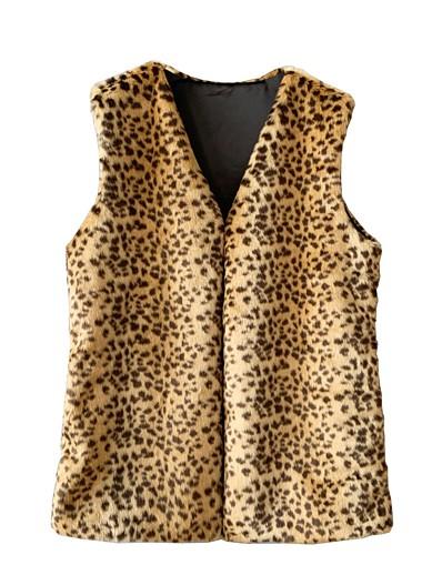 cheap Furs & Leathers-Women's Vest Long Leopard Daily Basic Rainbow S M L XL