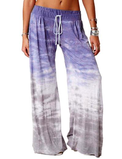 cheap Women's Bottoms-Women's Basic Breathable Loose Daily Wide Leg Pants Tie Dye Full Length Blue Purple Wine