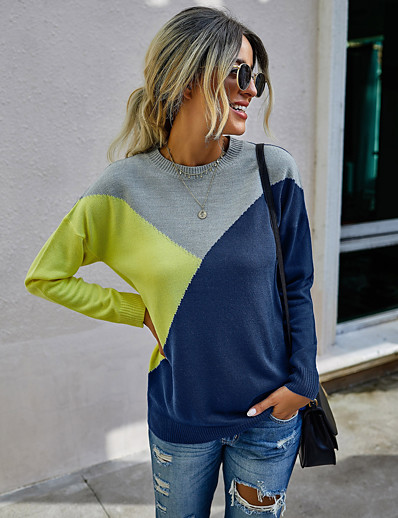 cheap Sweaters & Cardigans-Women's Basic Color Block Pullover Acrylic Fibers Long Sleeve Sweater Cardigans Crew Neck Round Neck Fall Winter Blue Orange