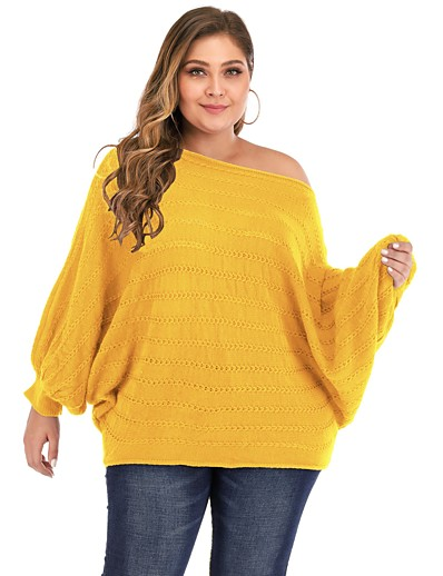 cheap Plus Size Sweaters-Women's Basic Knitted Hollow Out Solid Color Plain Pullover Acrylic Fibers Long Sleeve Plus Size Sweater Cardigans Off Shoulder Fall White Black Red