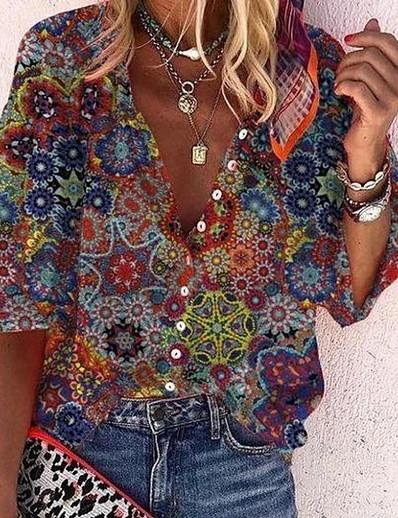 cheap Blouses & Shirts-Women's Blouse Shirt Floral Graphic Flower Long Sleeve Print Shirt Collar Basic Casual Tops Loose Rainbow