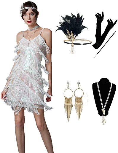 cheap Cosplay & Costumes-The Great Gatsby Roaring 20s 1920s Vintage Vacation Dress Flapper Dress Outfits Masquerade Prom Dress Adults' Women's Polyester Tassel Fringe Costume Golden / Blue / Fuchsia Vintage Cosplay Sleeveless