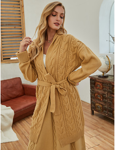 cheap Exclusive-Women's Basic Embroidery Knitted Solid Color Cardigan Long Sleeve Sweater Cardigans Open Front Fall Winter Camel