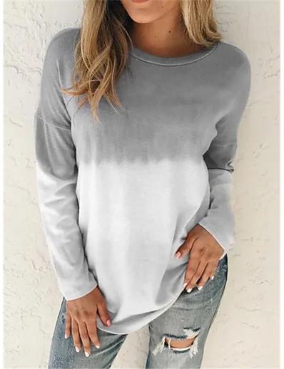 cheap Hoodies & Sweatshirts-Women's Hoodie Sweatshirt Tie Dye Daily Weekend non-printing Basic Casual Hoodies Sweatshirts  Blue Purple Gray