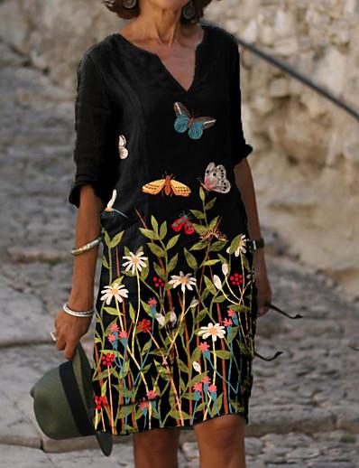cheap Casual Dresses-Women's Shift Dress Knee Length Dress - Half Sleeve Floral Animal Print Summer V Neck Casual Daily Loose 2020 Black M L XL XXL XXXL