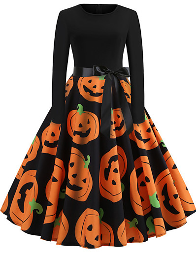 cheap HALLOWEEN 2020-Halloween Women's A-Line Dress Knee Length Dress - Long Sleeve Pumpkin Bat Skulls Print Bow Patchwork Print Fall Vintage Slim 2020 Blue Purple Orange S M L XL XXL
