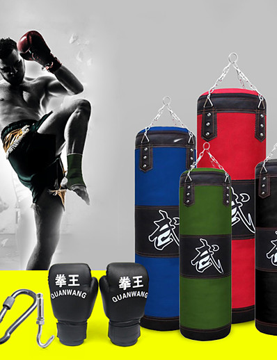 cheap Exercise, Fitness & Yoga-Punching Bag Heavy Bag Kit With Hanger Boxing Gloves Removable Chain Strap Punching Bag for Taekwondo Boxing Karate Martial Arts Muay Thai Adjustable Durable Empty Strength Training 5 pcs Black Blue