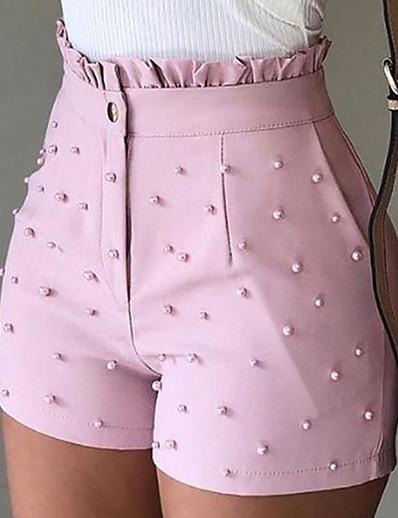 abordables Shorts pour femmes-Femme basique Ample Short Pantalon Couleur Pleine Blanche Noir Rose Claire